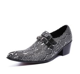eva dress patterns UK - 2018 Hot style Luxury Silver Men's shoes wedding genuine leather fashion pointed toe crocodile pattern men high heel dress shoes H59