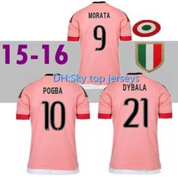 e9766f487 2015 2016 Old Away Pink DYBALA Soccer Jerseys CHIELLINI POGBA MARCHISIO  Pirlo Higuain Juv jerseys Coppa Italia 15 16 Football Jersey Shirts