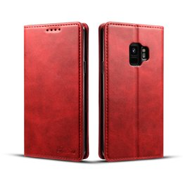 Discount simple wallet case leather - Simple Fashion Leather Wallet Phone Case for Samsung Galaxy S9 S9Plus And for iphone X 8 7 6 Plus Wallet case with magen