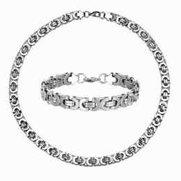 gold silver mix chain for men 2019 - 6 8 10mm Byzantine Chain Necklace bracelet set for men Punk silver color stainless steel chain jewelry set wholesale dis