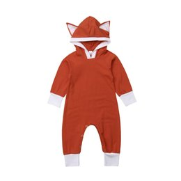 Fox Clothing Wholesale UK - Newborn Baby Boy Girl Kids Fox 3D Ear Hooded Hooded Romper Long Sleeve Jumpsuit Sunsuit Outfits Clothes