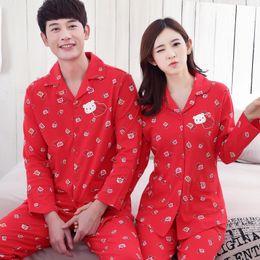 959a138b3d Wedding Festive red Couple pajamas set 100% cotton pajamas spring autumn men  and women long sleeve sleepwear lover night suit3XL