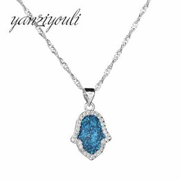 Shop silver evil eye pendants wholesale uk silver evil eye 2018 fashion blue opal evil eye pendant necklace for women silver hamsa hand necklace with chain natural stone christmas jewelry aloadofball Gallery
