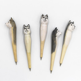 $enCountryForm.capitalKeyWord Australia - Coloffice Creative Wood Carving Pets Animal Garden Silly Husky Dog Ballpoint pen Gift Office Stationery School Writing Supplies