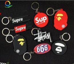 Wholesale SUP red LOGO White Ribbon Band Keyring Key Rings For Women Bag Charms Short and Long Ribbon For Phone Case Wallet Keychain Key Chain