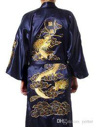 6287ffcfb1 Discount male kimono robe - Plus Size Chinese Men Embroidery Dragon Robes  Traditional Male Sleepwear Nightwear
