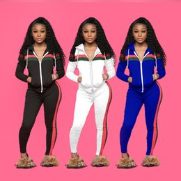China Casual Tracksuit Women Two Piece Set Autumn Outfits Zipper Printed Sweatshirt Jacket and Pants Set Ladies Fashion Sweat Suits With Pocket suppliers