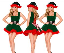 santa claus costumes adult 2019 - Sexy Green Christmas tree Costumes Sexy Christmas Dress Santa Claus Costumes for Adults Uniform Sling princess dress che