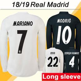 real madrid green uniform 2019 - 2018 19 Real Madrid MODRIC KROOS Long Sleeve Soccer Jerseys New RAMOS BENZEMA Football Shirts high Quality ISCO BALE Hom