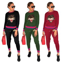 camp pants 2019 - tiger head women tracksuits two piece outfits LOVED hoodie leggings winter fall sequins sweatshirts glitter pullover swe