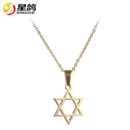 gold star pendant men NZ - Punk Silver gold Color Star Of David Pendant Israel Chain Necklace Women Stainless Steel Judaica Jewish Men Jewelry