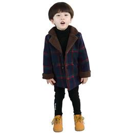 32d281606344c Famli 2018 New Fashion Autumn Winter Baby Boys Warm Plaid Outerwear Children  Suede Fleece Jacket Kids Long Coat Winter Clothes