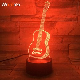 Wholesale Wrumava D Guitar LED Night Light Multi Color changing Touch Switch Optical table lamp USB Powered Home Room Bar Party