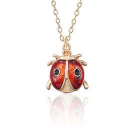 $enCountryForm.capitalKeyWord UK - Lovely Enamel Insect Animal Necklace For Women Mini Beetle Ladybug Ladybird Necklaces Pendants Gold Jewelry For Kids Collier