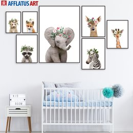 zebra print canvas wall art 2019 - Elephant Deer Fox Raccoon Zebra Flower Animals Wall Art Canvas Painting Nordic Posters And Prints Wall Pictures Kids Roo