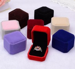 Gadgets Sale Australia - 2018 Hot sales new fashion 10 color selection square velvet jewelry box red gadget box Plush necklace ring earrings box