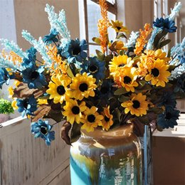 Decorating fake flowers online shopping - Simulation Daisies Artificial Fake Sun Flower Wedding Ceremony Flowers Decorate Beautiful Rural Style Festive Party Supplies al bb