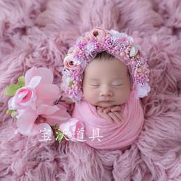 Pink Baby Girl Flower Hat Handmade Newborn Floral Bonnt Props Girls Flower  Bonnet Lovely Infant Cap Studio Photography Props 904fbd72b0f8