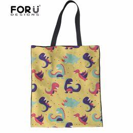 Cute Animal Tote Bags Canada - FORUDESIGNS Animal Dinosaur Paern Female Tote Shoulder Bags Cute Fashion Girls Large Clothes Crossbody Handbag Woman Linen Bag