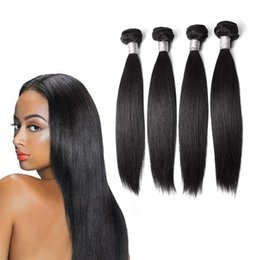 Dyeing Hair Black Australia - Best-Selling Hair Welf New Stylish 1B Natural Color Black Straight Human Hair Weave Soft Can Be Dyed 4 Bundles Human Hair Wig