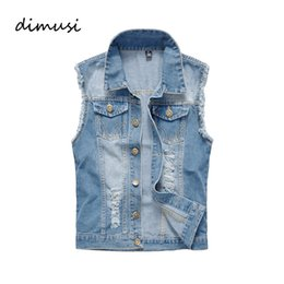 China DIMUSI Summer Denim Vest Men Vintage Sleeveless washed jeans Man waistcoat Cowboy ripped HIpHop Jacket Brand Clothing 6XL,YA606 supplier men s sleeveless jackets suppliers