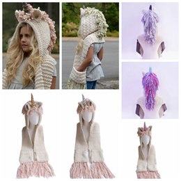 China Kids Unicorn scarf cap 2 in 1 children Infant Warm Knitted Hats warmer Winter Beanie Hat Tassels cape cap christmas gift 7 Colors 5pcs suppliers