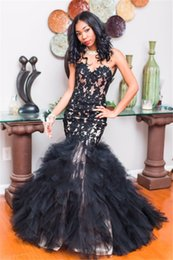 pink tires Canada - 2019 Sexy African Black Girl Mermaid Prom Dresses Strapless Zipper Back Full Lace Tired Skirt Formal Evening Dresses Party Wear