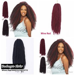 Discount synthetic afro hair braid - 18 inch Afro Kinky Twist Braid Curly freetress Synthetic Hair Bulk Extensions Marley Braid Synthetic burgundy Braiding H