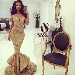 gold sequined mermaid Australia - 2020 New Design African Gold Sequined Mermaid Prom Dresses Spaghetti Straps Backless Ruffles Tiered Split Sweep Train Party Evening Gowns