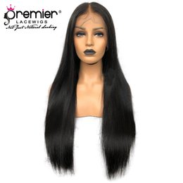 "yaki human hair lace front wigs Australia - Premier 4.5"" Deep Parting 360 Lace Wigs Indian Virgin Hair Wigs Yaki Straight Pre-plucked Bleach Knots 150% Density Human Lace Wigs"
