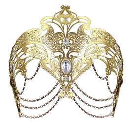 $enCountryForm.capitalKeyWord Australia - Luxury Party Mask Queen's Beaded Masquerade Eye Hollow Out Metal Masks With Chain Pattern Golden For Party