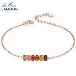 Multi Tourmaline NZ - LAMOON Classic 100% Natural 6pcs Multi-Color Oval Tourmaline 925 Sterling Silver Jewelry S925 Bracelet LMHI018 S18101308