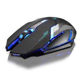 Ricaricabile X7 Wireless Retroilluminazione a LED USB Ottico mouse da gioco ergonomico Sem Fio Fashion Giochi per computer Mouse per Pro Gamer in Offerta