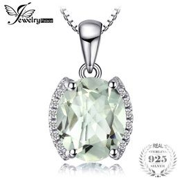 China JewelryPalace Oval 1.83 ct Green Amethyst Natural Stone Pendant Necklace 925 Sterling Silver Vintage Jewelry Not Include A Chain cheap vintage amethyst stone necklace suppliers