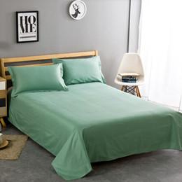 Discount nurse bedding sets - 100% cotton fruit green solid color twill home textiles bedding 3Pcs 1Pcs bed sheet set +2Pcs pillowcase super soft 6 si