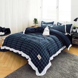 $enCountryForm.capitalKeyWord Australia - Wholesale-Luxury Snow White lace bedspread princess bedding sets queen king size 6pcs Ruffles duvet cover bed skirt bedclothes cotton