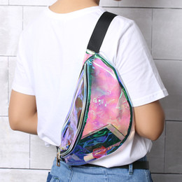 Wholesale Pillow Packs Canada - 1PC Women Fashion Waist Chest Bag Handbags Translucent Reflective Laser Fanny Pack Pillow Shape Laser Hologram Waist Bag Cool
