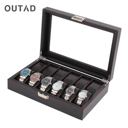12 Slot Display Case Canada - OUTAD 12 Grids Slots Wooden Watch Box Carbon Fibre Pattern Watch Storage Box Display Slot Case