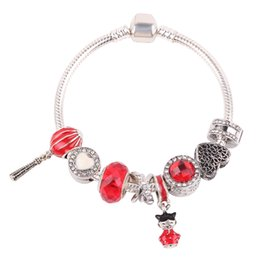 $enCountryForm.capitalKeyWord UK - AIFEILI Silver Chinese New Year Lantern,Doll, Clear CZ & Red Enamel Charm For Bracelet Silver Jewelry