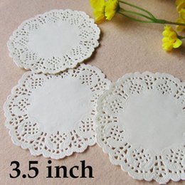 round pink doilies UK - Cheap Mats & Pads 3.5 inch Round Lace Paper Doilies White Pink Gold Red Cake Paper Mat Party Wedding Christmas Table Decoration