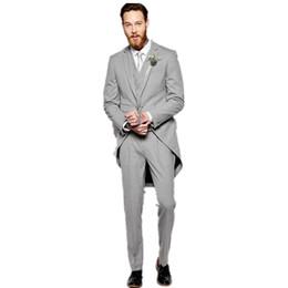 $enCountryForm.capitalKeyWord Australia - New Light Grey Groom Tuxedo Wedding Men Suit 3 Pieces(Jacket+Pants+Vest+Tie) Notched Lapel Custom Made Slim Fit Prom Clothes 240