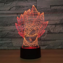 Free Goku Figures Australia - Dragon Ball Goku 3D Optical Illusion Lamp Night Light DC 5V USB Powered AA Battery Wholesale Dropshipping Free Shipping