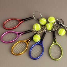 $enCountryForm.capitalKeyWord NZ - High Quality 6 Colors Tennis Keychain Key Ring Tennis Racket Model Key Chain Creative Pendant Keychains Promotion Small Gift G256Q