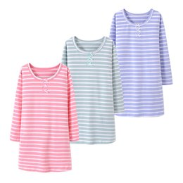 2863664f48 2018 Spring Girls Sleepwear Dress Cotton Stripe Girls Pajamas Tracksuits  For Kids Nightgown With Bow Children Clothing