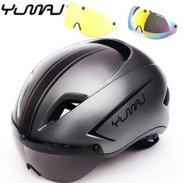 $enCountryForm.capitalKeyWord UK - 3 lens New Aero Road Bicycle Helmet Magnetic Goggle Racing Cycling Bike Sports Safety Helmet Timed Road Bike Lens