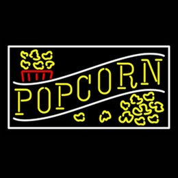 "$enCountryForm.capitalKeyWord NZ - Yellow Popcorn With Border Neon Sign Hand-crafted Custom Real Glass Tube Store KTV Cinema Theatre Advertising Display Neon Signs 24""X16"""