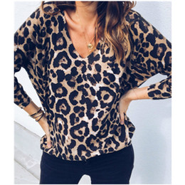 03262392f7dd Vintage Fashion Women Shirts New Sexy Leopard Printed T Shirts V-neck  Autumn TShirts Casual Tops Loose T-shirts Plus Size M0208