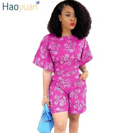 8cd8f91cb2c HAOYUAN Plus Size 2 Piece Set Women 2018 Plus Size Sexy Short Sleeve Tops  And Shorts Suit Casual Summer Floral Two Piece Outfits