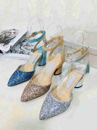 Glitter Prom Pumps NZ - Luxury Design Womens Fashion Bride Glitters High Heeled Party Prom Pumps 2018 Brand Sexy Chunky Heels Pointed Toe Handmade Wedding Shoes