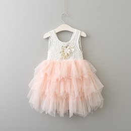embroidered tutu Canada - 2020 New Arrival Girls Lace Dresses Children Sleeveless Cotton Tutu Layered Dresses Cute Fashion Kids Dresses